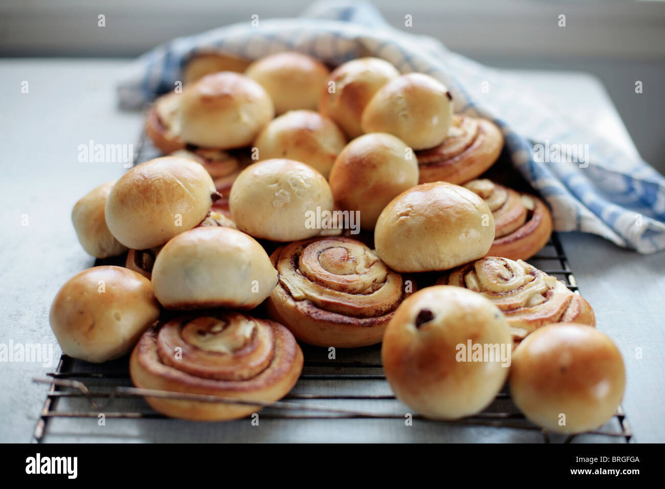Freshly baked Buns and pastries. (Norwegian) - Stock Image