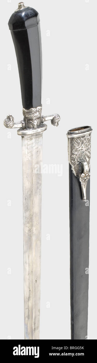 A silver-mounted German or French hunting hanger, circa 1780 Double-edged, ridged blade with etched vine and trophy - Stock Image