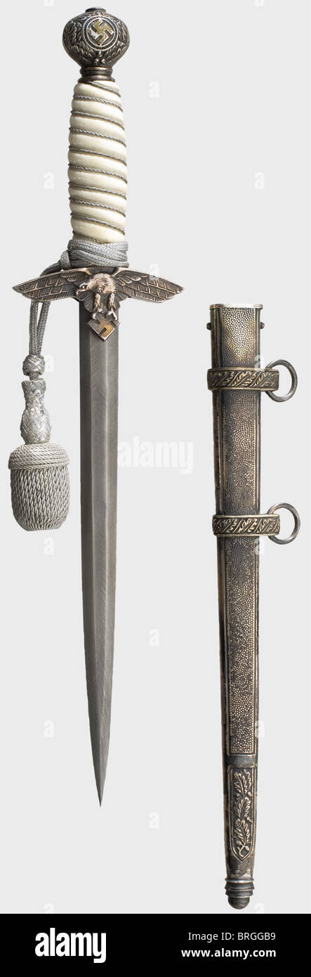 A dagger for officers of the Luftwaffe, with a Damascus blade Excellent forged blade, made of so-called Ottoman - Stock Image