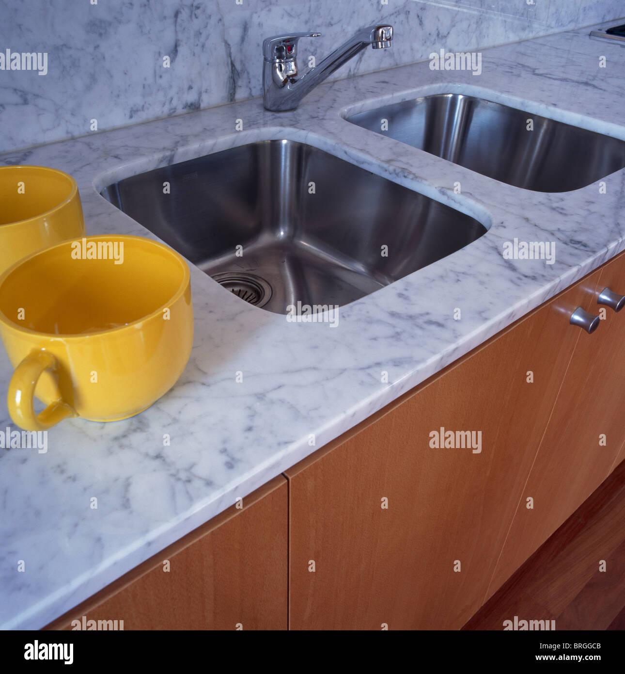 Detail Double Kitchen Sink Stock Photos & Detail Double Kitchen Sink ...
