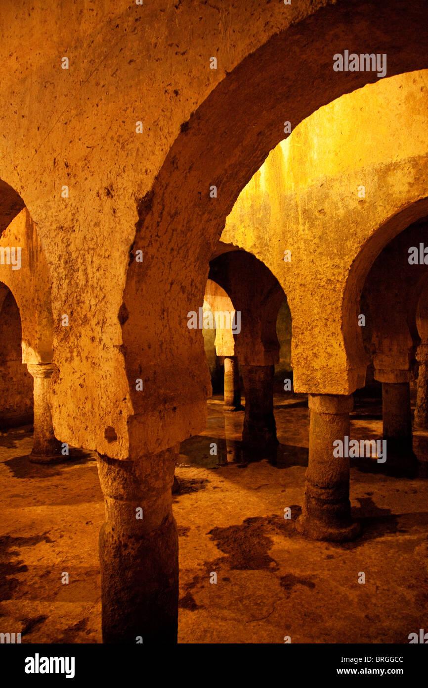 Aljibe Hispano Arabic at the Palace of Veletas, historic center of Caceres, Extremadura, Spain Stock Photo