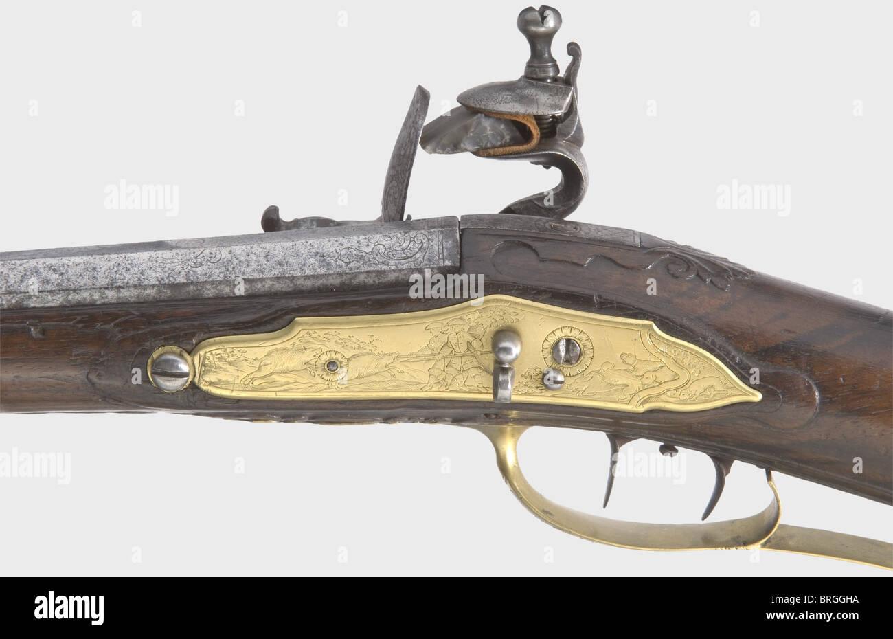 A combined flintlock/air gun, Wentzlau, Neuwied, circa 1740. Octagonal barrel becoming round with a smooth bore - Stock Image