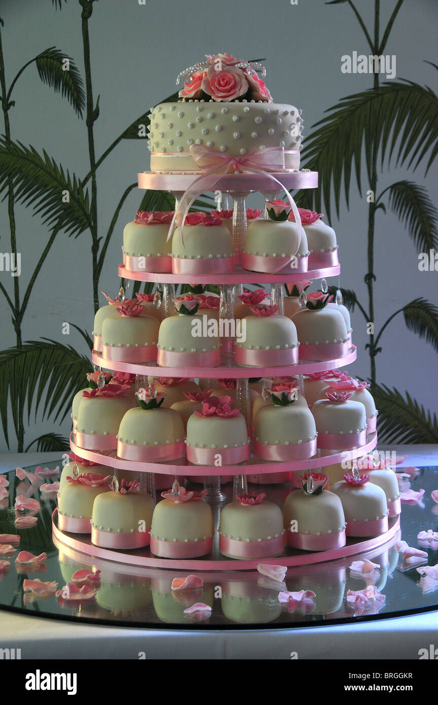 A Five Tiered Pink And White Wedding Cake Made Up With Cup Cakes Dorset UK 2009