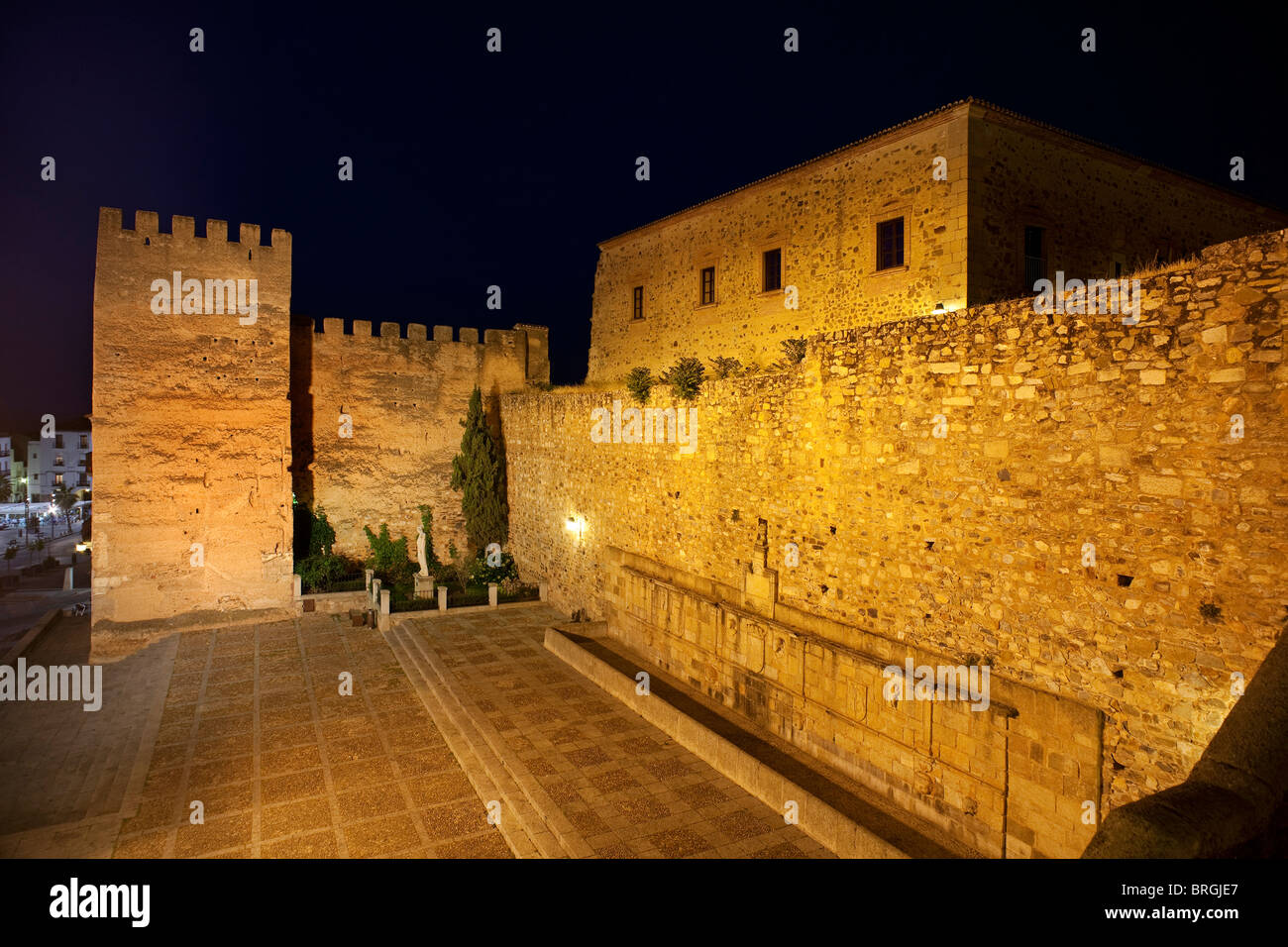 Tower of la Hierba and Casa of los Ribera in the historic center of Caceres, Extremadura, Spain - Stock Image