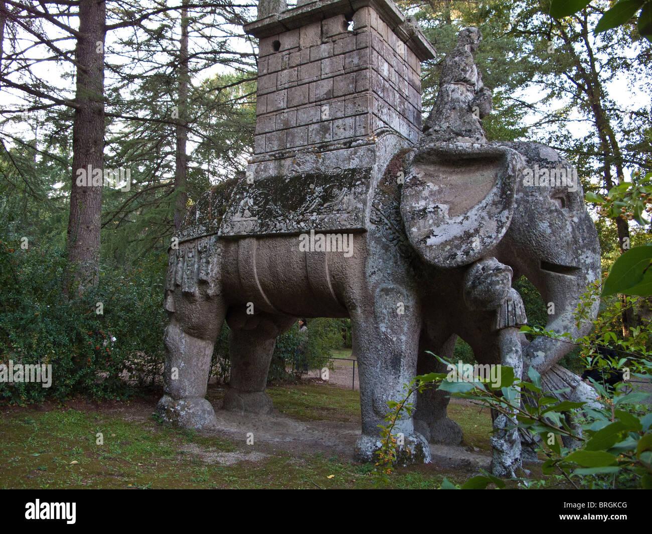 statue in the unusual gardens of Sacro Bosco in Parco dei Mostri ...