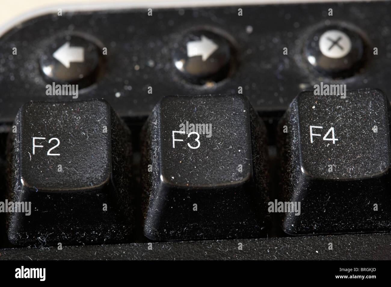 close up macro shot of a dirty computer keyboard - Stock Image