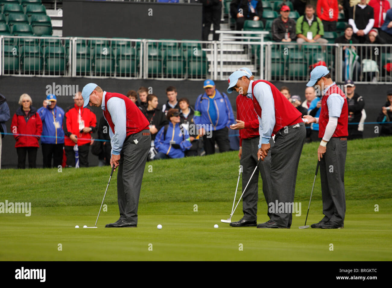 American Golfers on the first practice day of the 2010 Ryder Cup, Celtic Manor, Newport, Wales - Stock Image