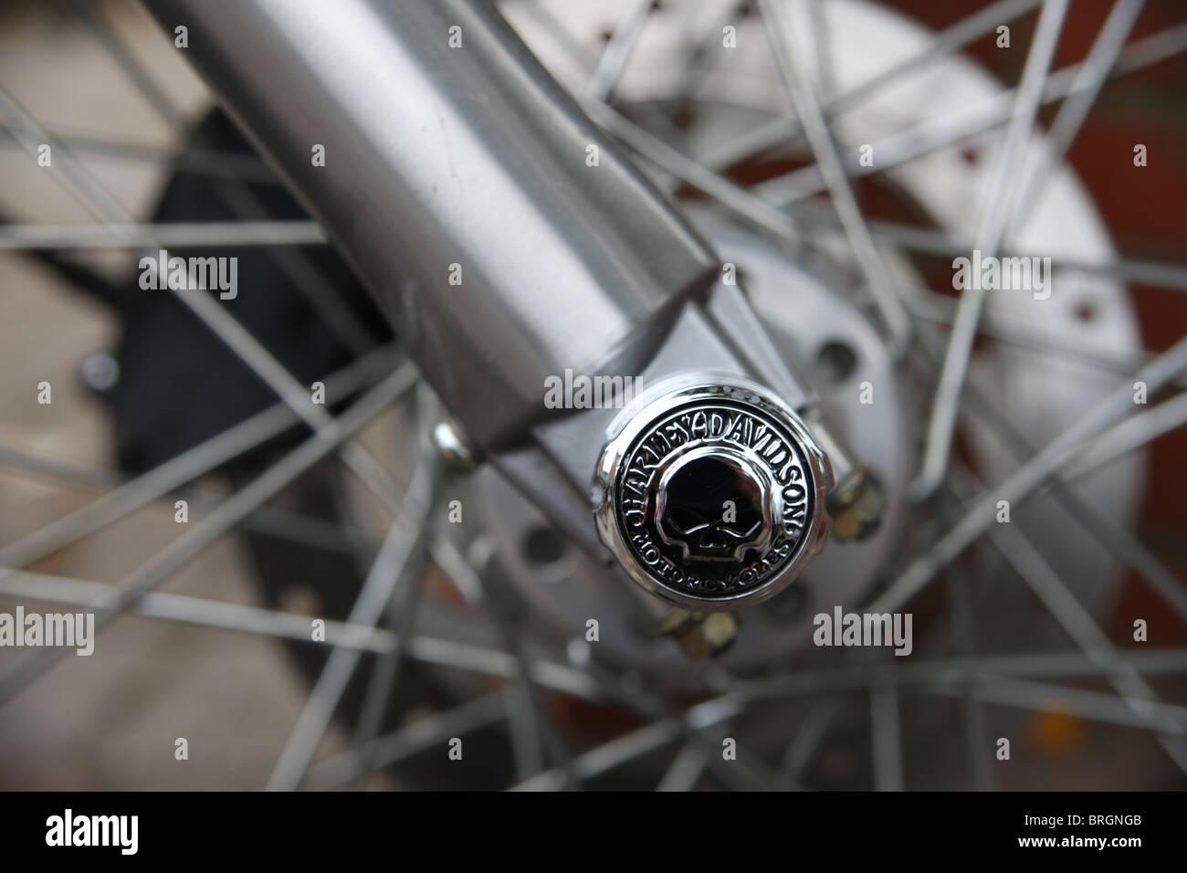 Harley Davidson fork detail featuring skull. - Stock Image