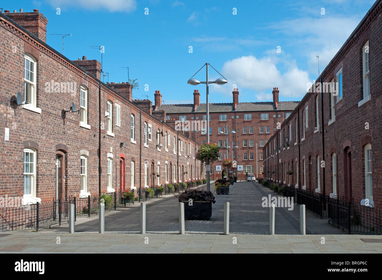 Terraced houses in Ancoats, the area was at the heart of the Industrial Revolution in Manchester.Known as 'Little - Stock Image