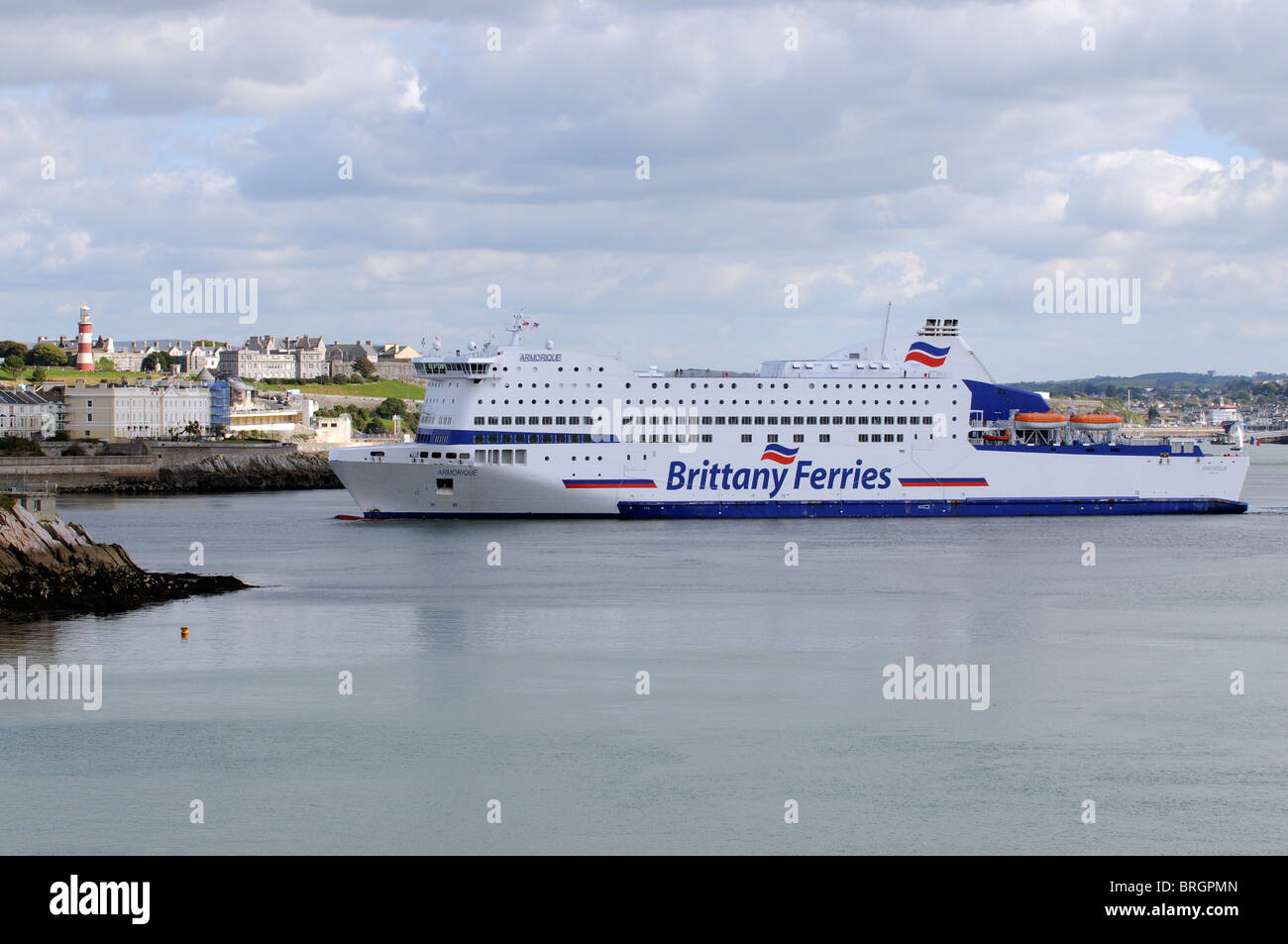 MV Armorique a roro Brittany Ferries company ferry inbound to Plymouth ferry port entrance with a backdrop off Plymouth Stock Photo