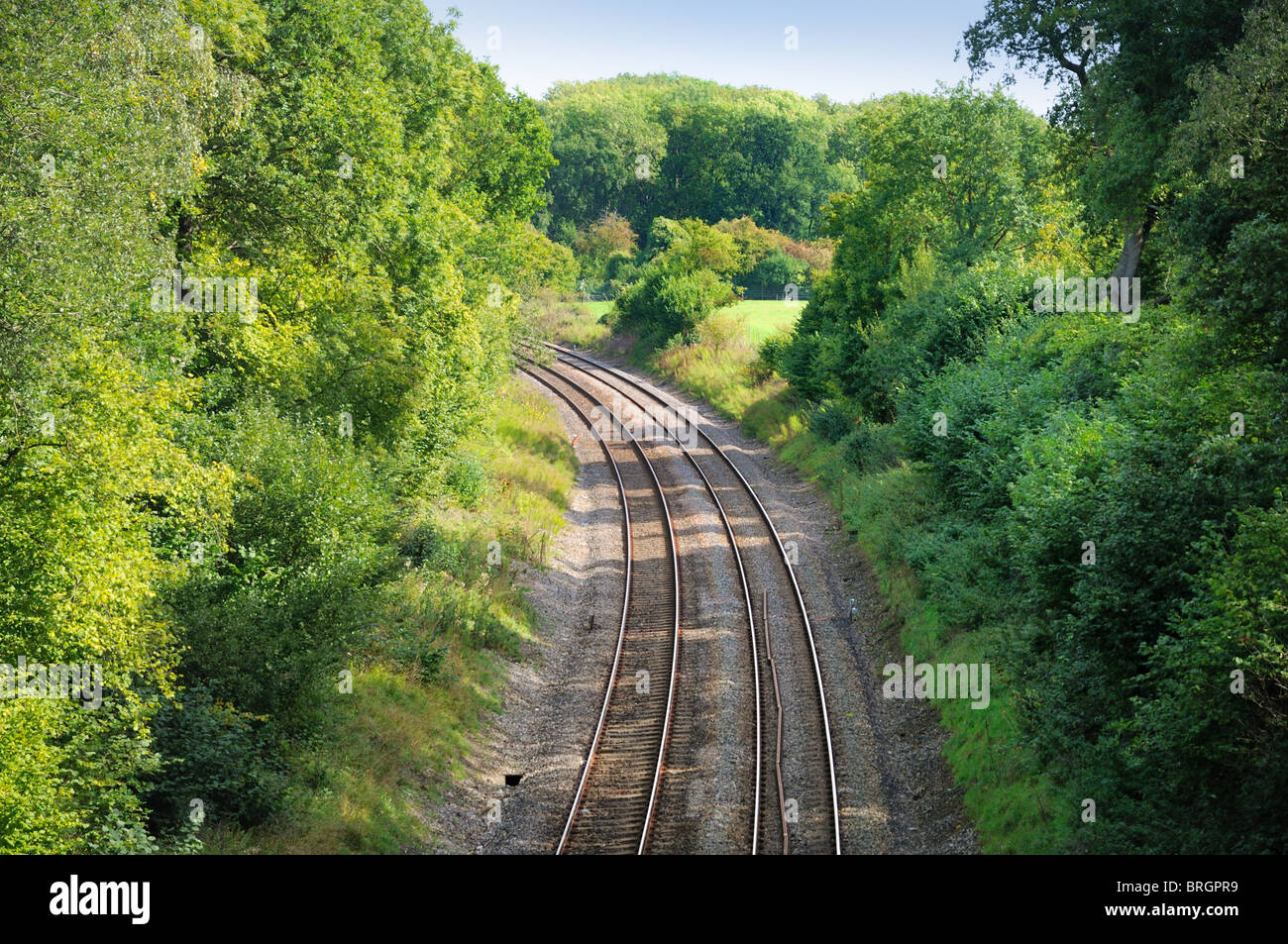 Railway lines in countryside - Stock Image