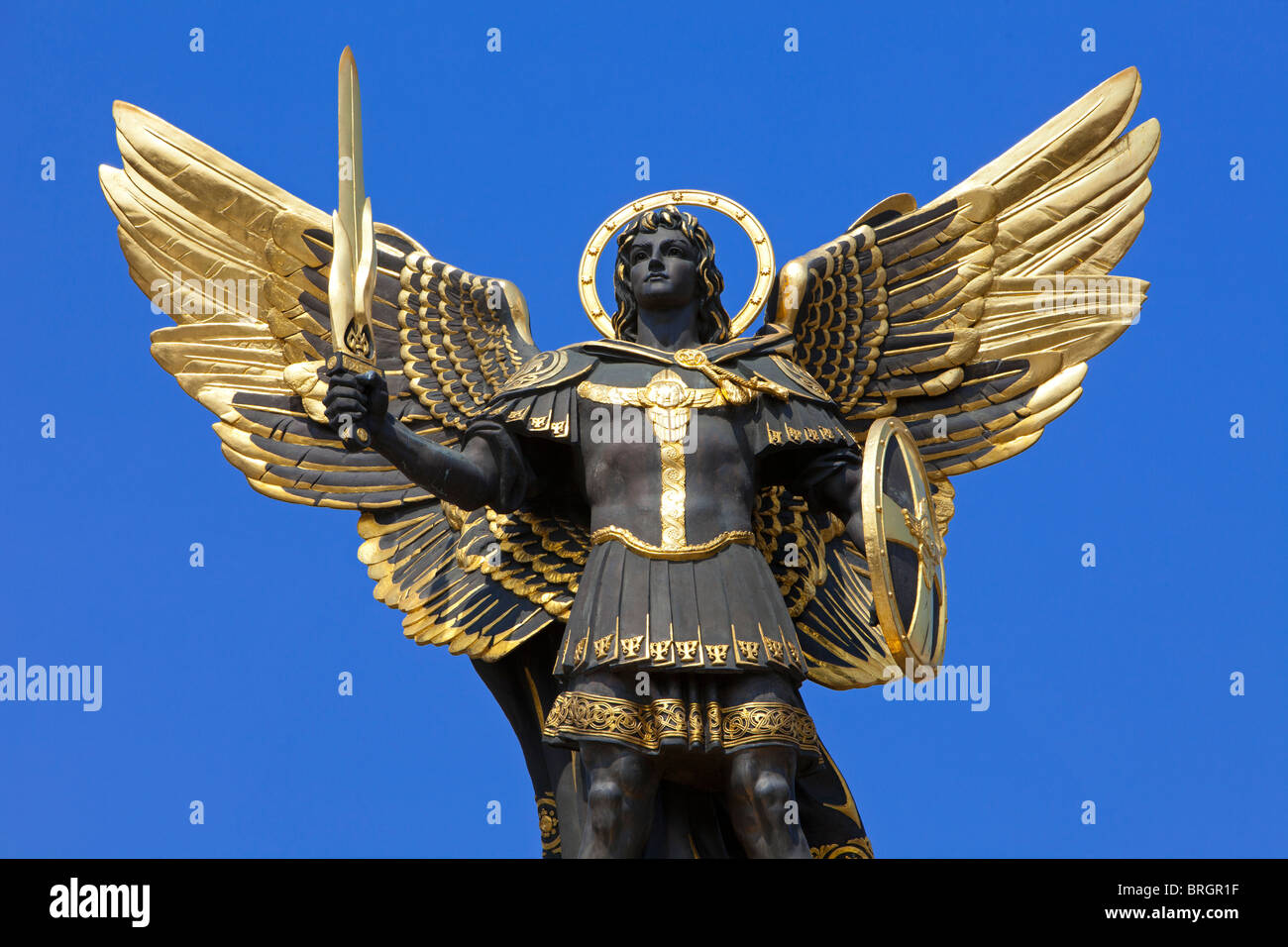 close up of the statue of archangel michael on top of the pecers kyj