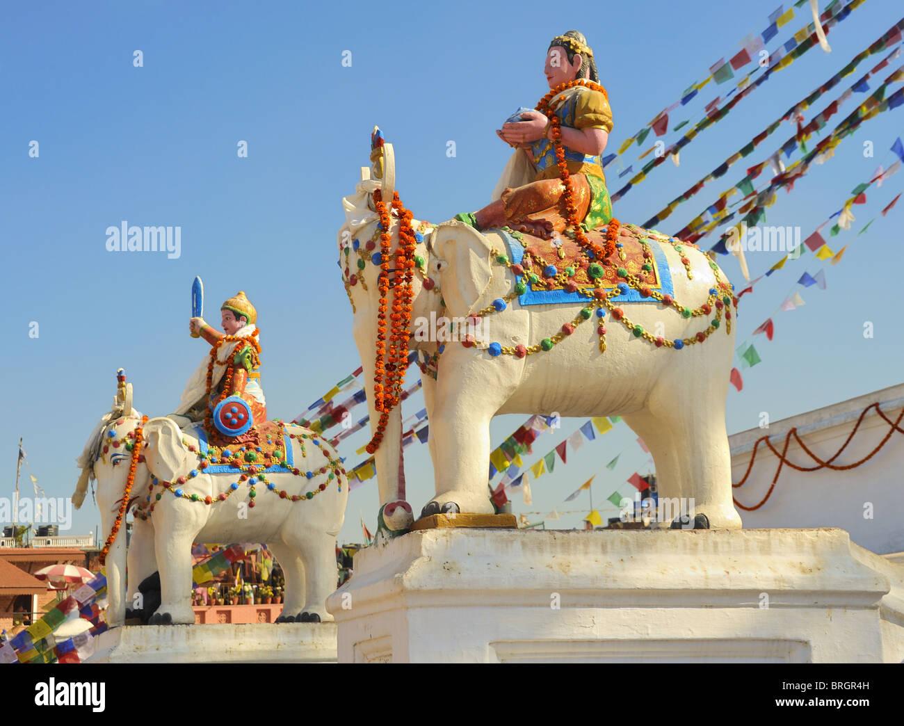 Elephant statues at Bodhnath Stupa, Kathmandu, Nepal. - Stock Image