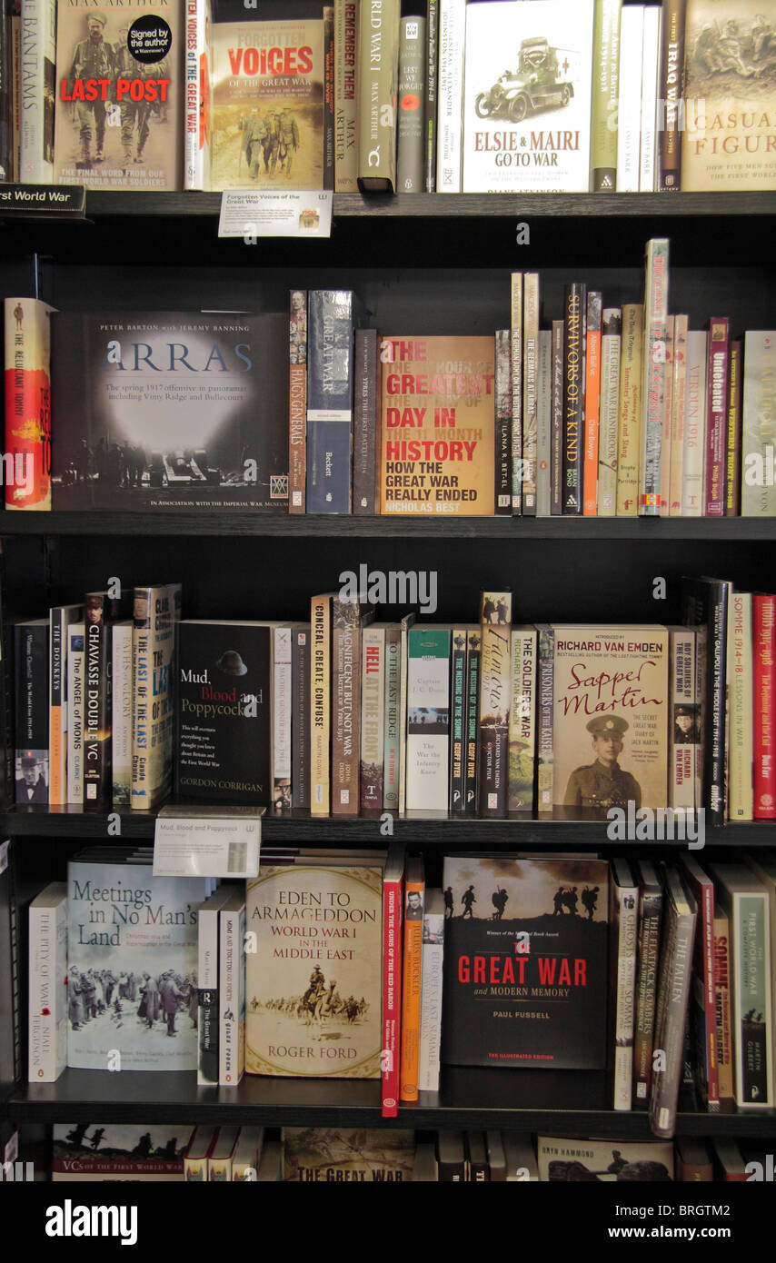 World War One books on display on several book shelves in a book shop, London, UK. - Stock Image