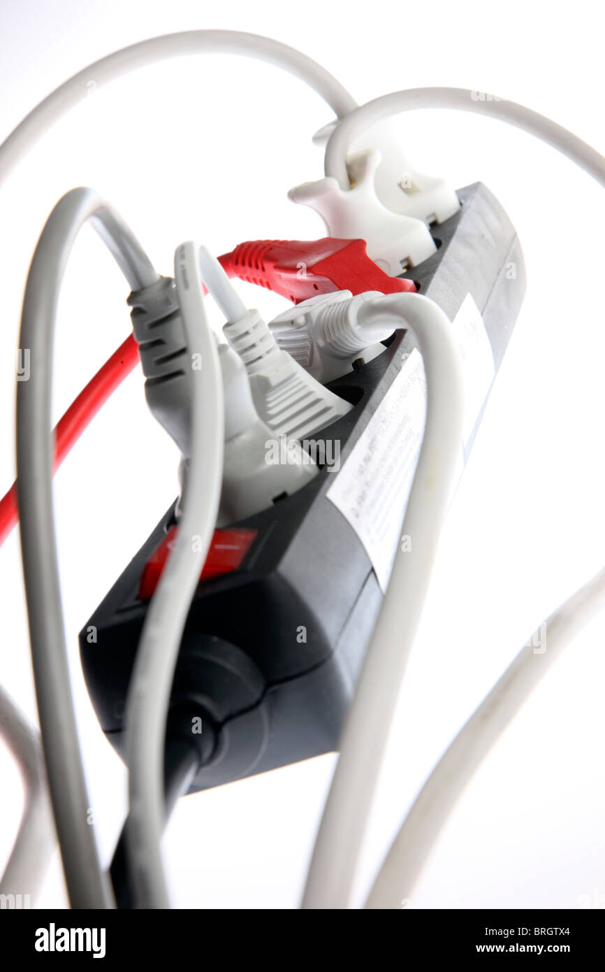 Home electrics, power supply, multi sockets, electric cables, plugs. Stock Photo