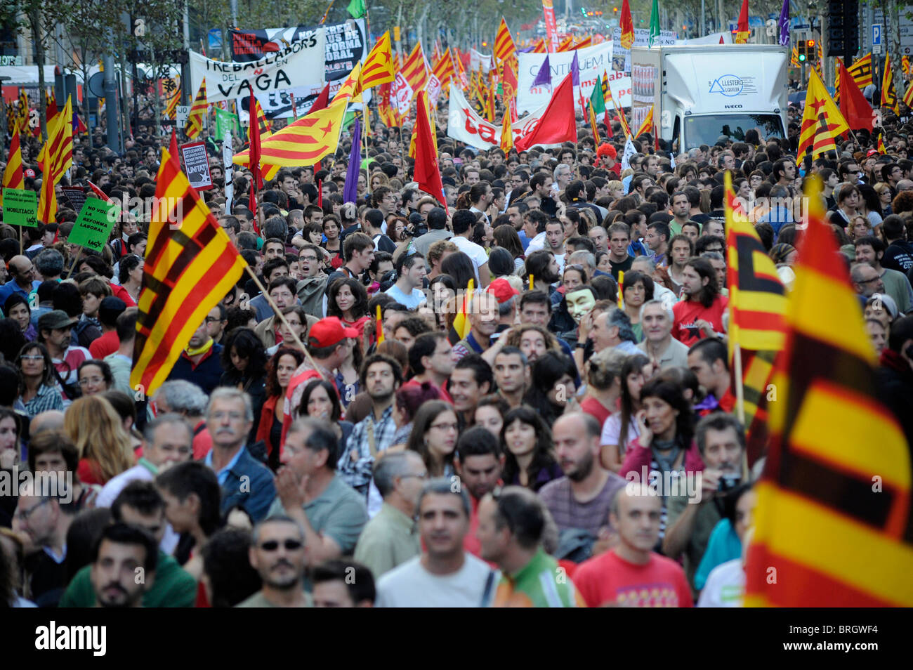 Barcelona,Spain,September 29, 2010 .- Strike across Spain to protest the government's labor reforms and austerity - Stock Image