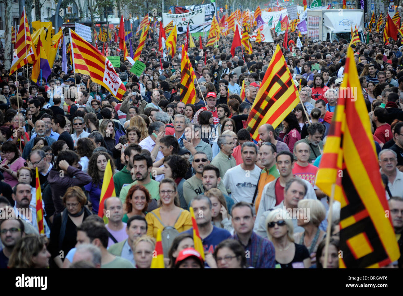 Strike demonstration across Barcelona to protest the government's labor reforms and austerity measures.Spain. - Stock Image