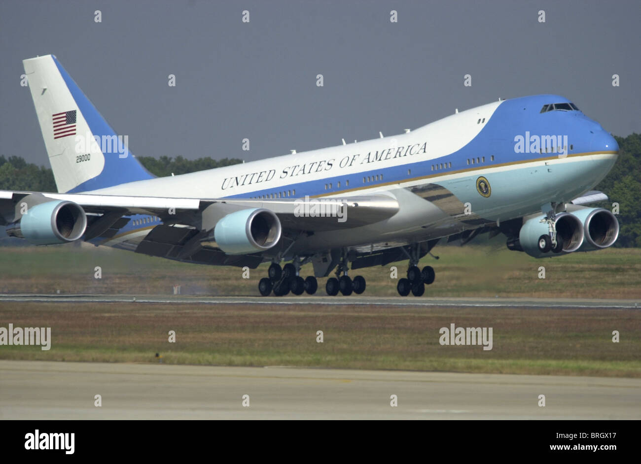 George W. Bush arrives via airforce one. - Stock Image