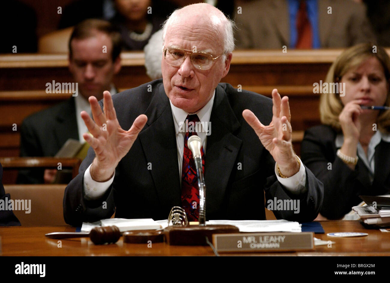 Senate Judiciary Committee Chairman Patrick Leahy, D-Vt. speaks on Capitol Hill , about President Bush's judicial - Stock Image