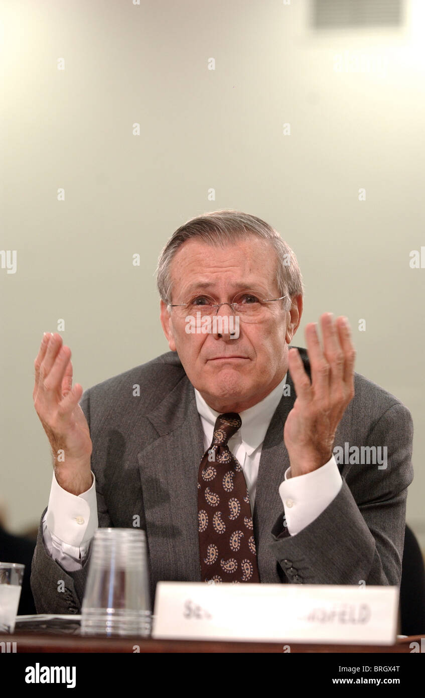 Defense Secretary Donald Rumsfeld testifies at a  House Appropriations Committee Subcommittee hearing on defense. - Stock Image