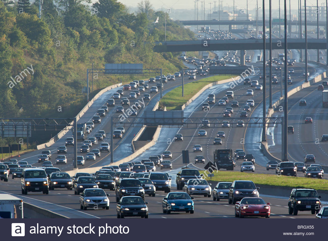 Morning rush hour in the Toronto bound lanes of Highway 401 on the Pickering/Toronto border in Ontario Canada - Stock Image
