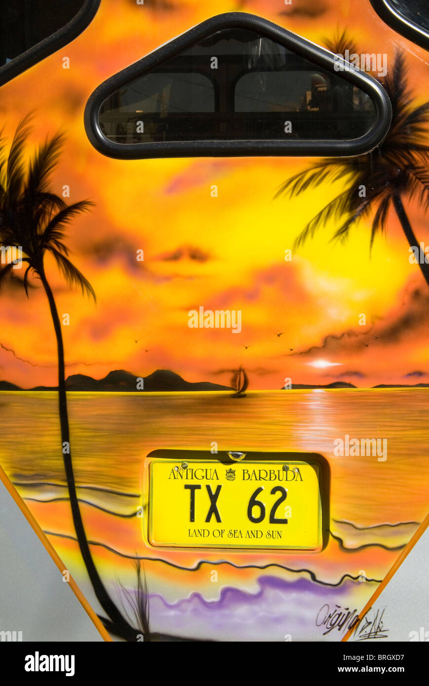 Car Plate, St.John's, Antigua, West Indies, Caribbean, Central America - Stock Image