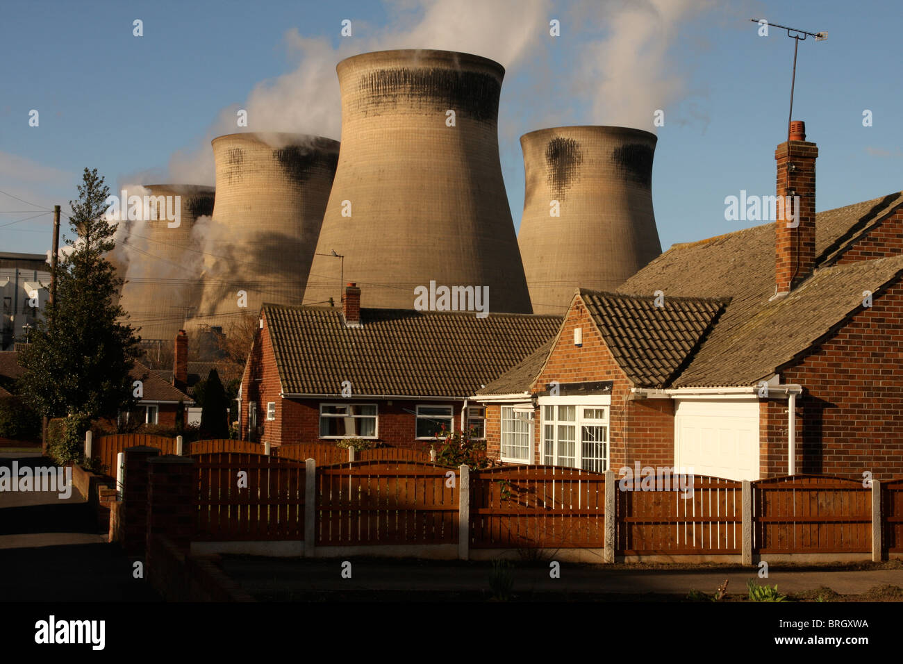Electricity cooling towers behind domestic residential houses LONDON ...