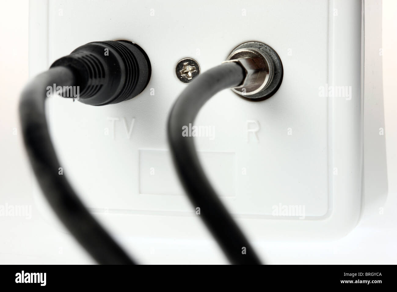 Wall Socket For Television Cable And Radio Cable To Connect With