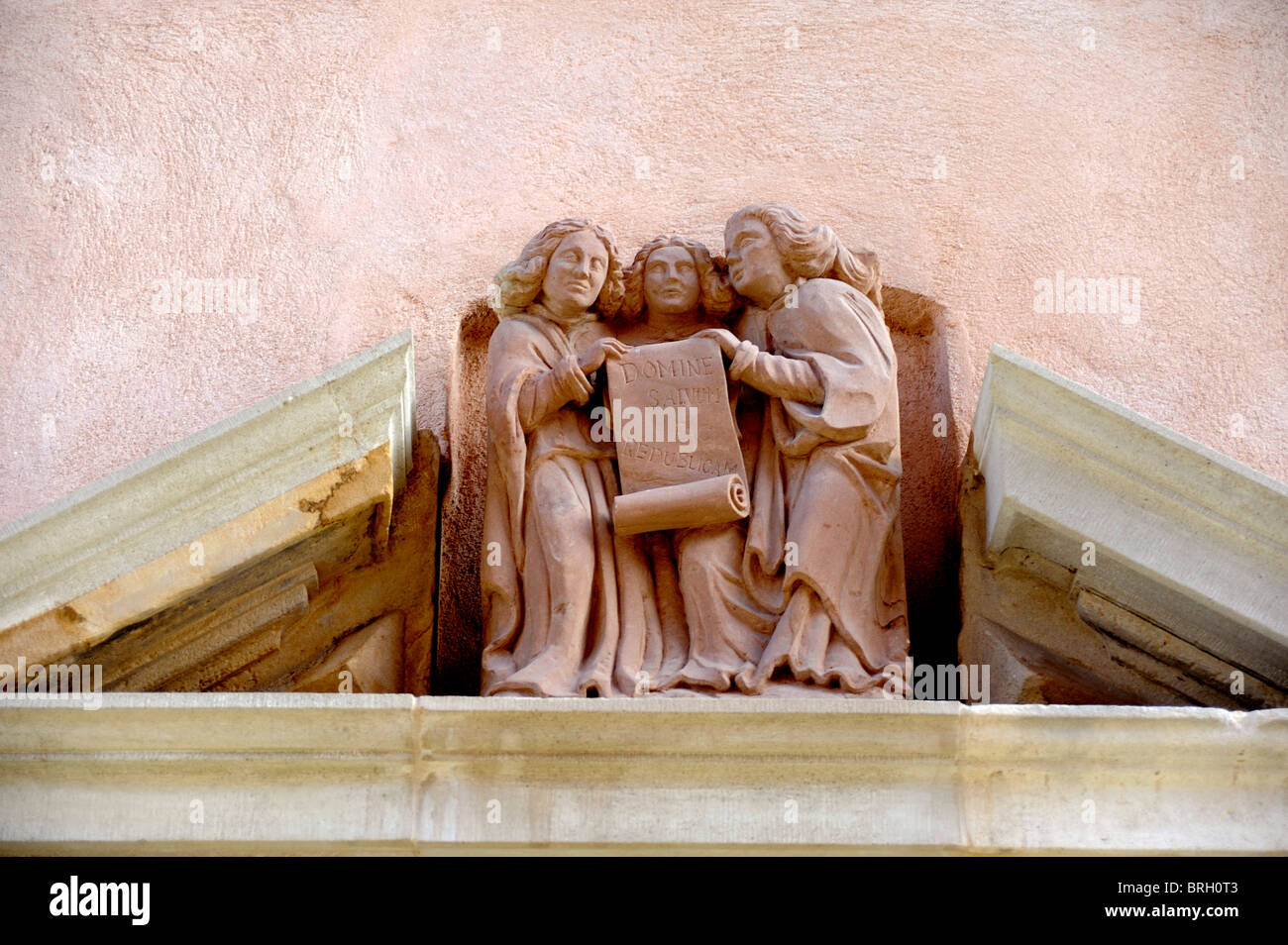 Angels on pediment of old house at Luneville , near Nancy, Meurthe-et-Moselle, Lorraine, France - Stock Image