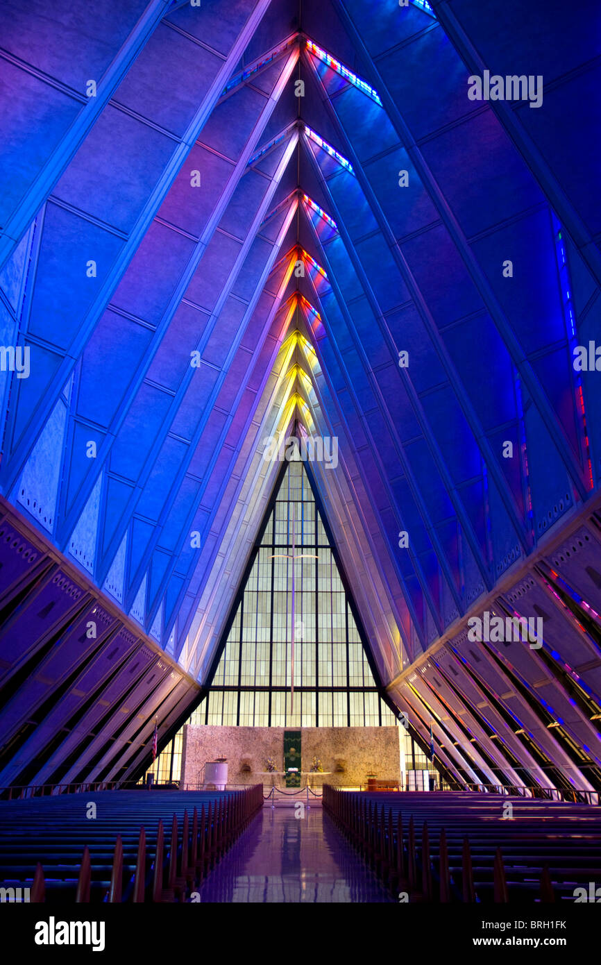 Interior of the Cadet Chapel at the Air Force Academy in Colorado Springs, Colorado, USA. - Stock Image