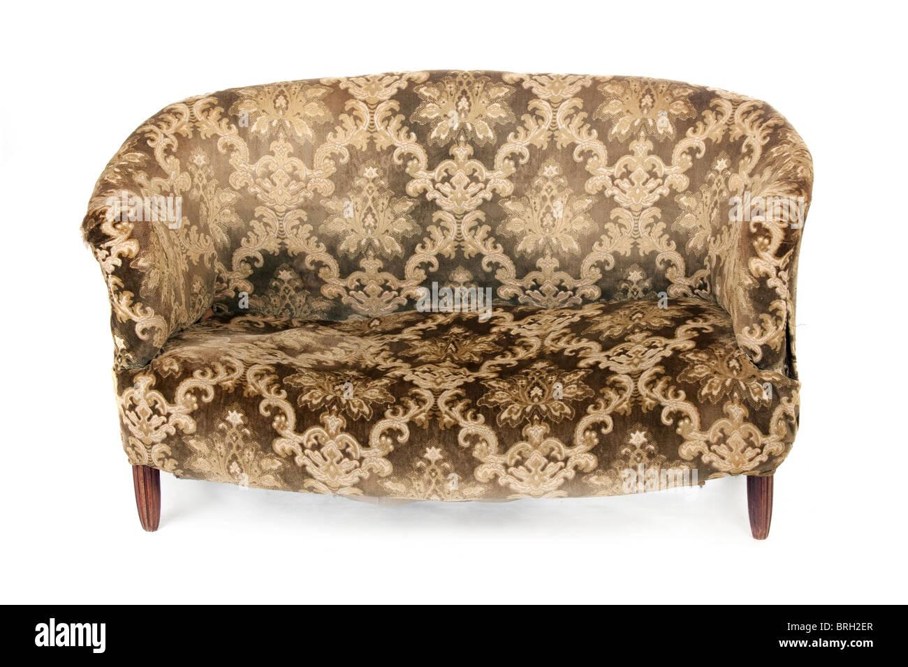 Old Fashioned Retro Sofa Isolated On White Background
