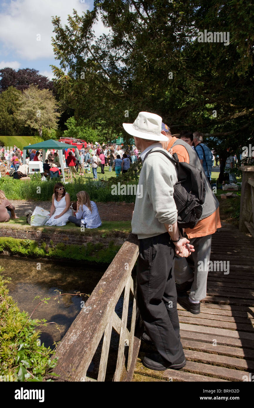 Retired men at the entrance of the annual summer Charminster Fete, in the Dorest village of Charminster. DAVID MANSELL - Stock Image