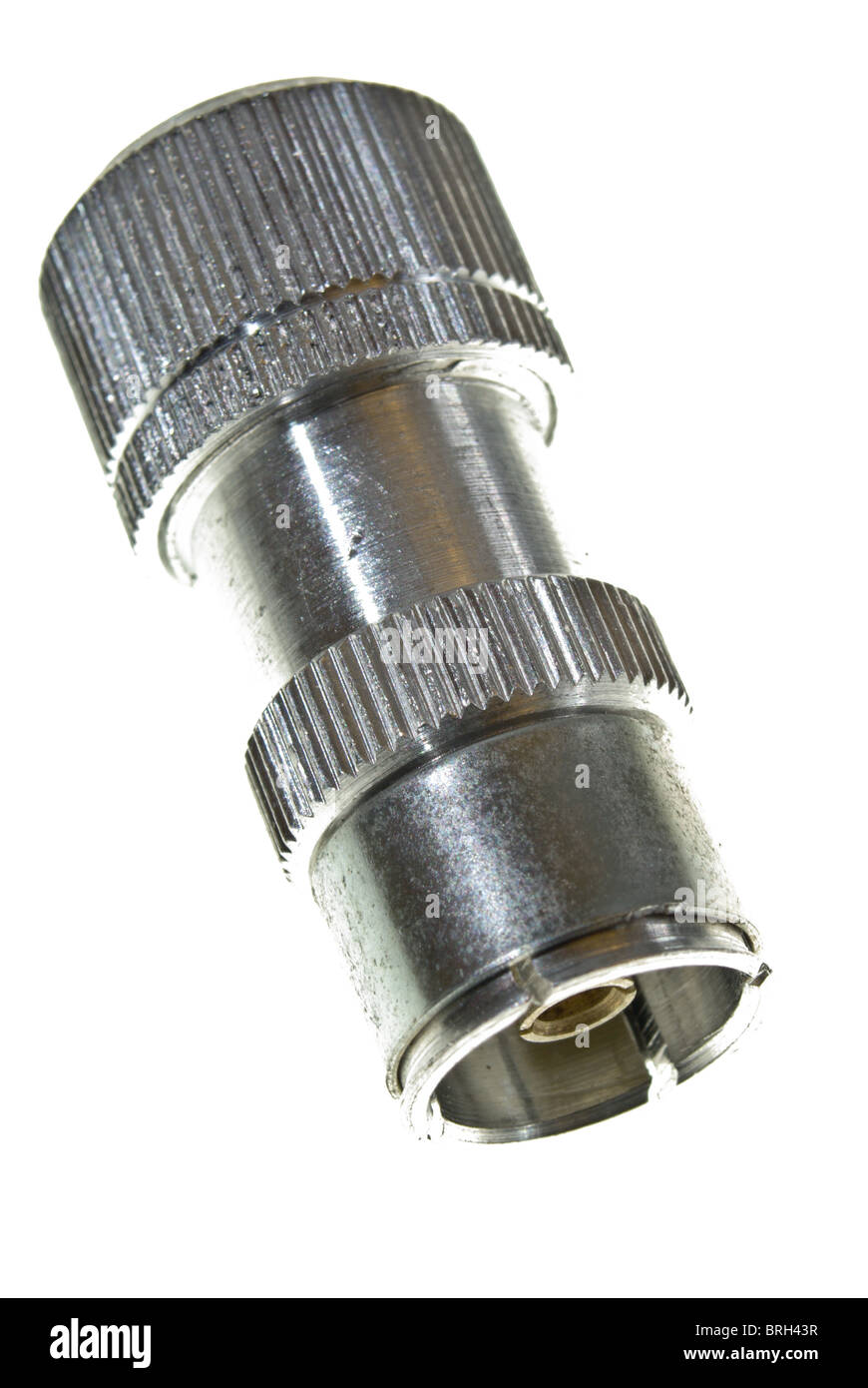 Co-axial female connector for TV aerial cable - Stock Image