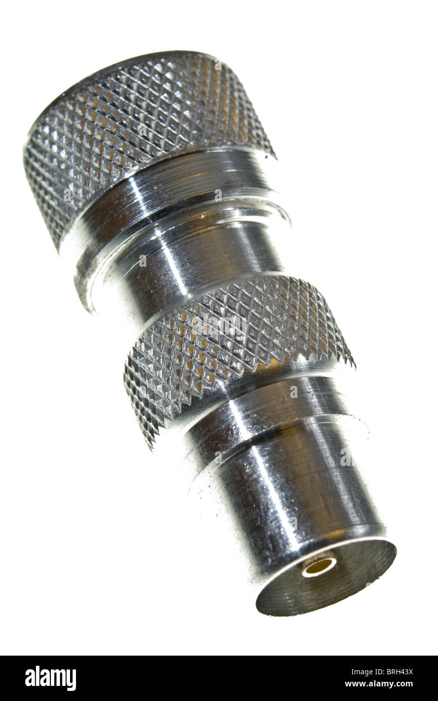 Co-axial male connector for TV aerial cable - Stock Image