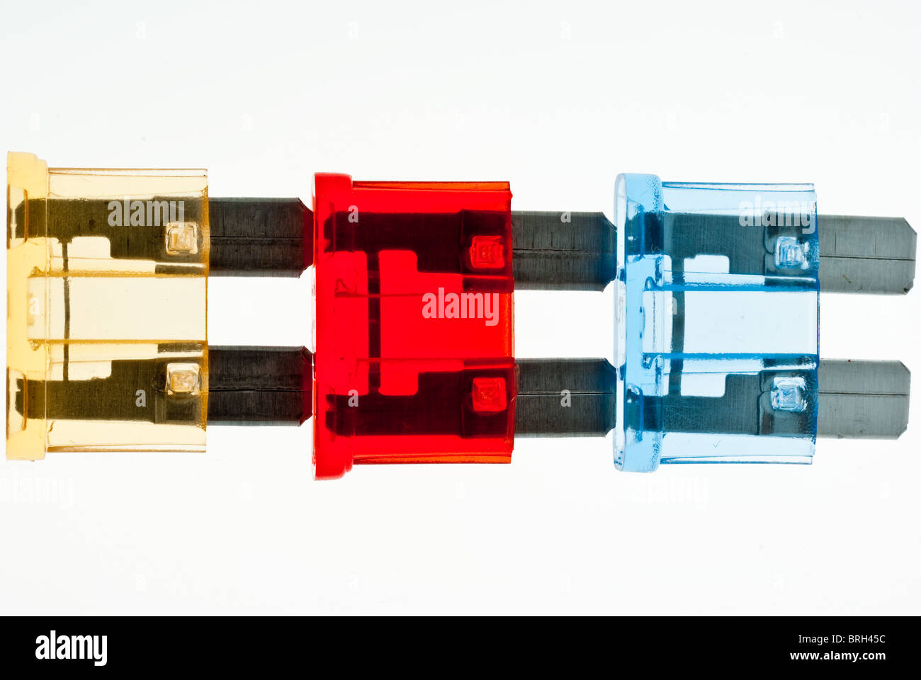 Blade fuses for use in cars and automobiles - Stock Image