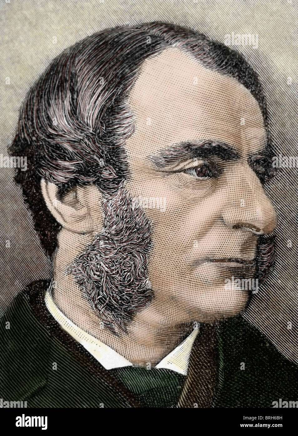 Kingsley, Charles (1819-1875). British writer and historian. Colored engraving. - Stock Image