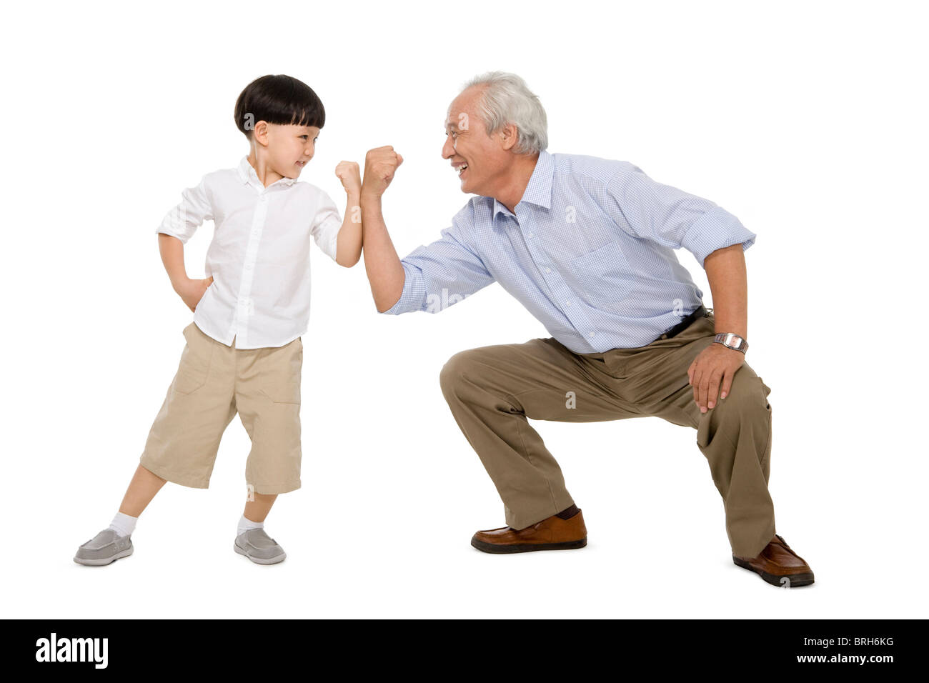 Portrait of grandfather and grandson - Stock Image