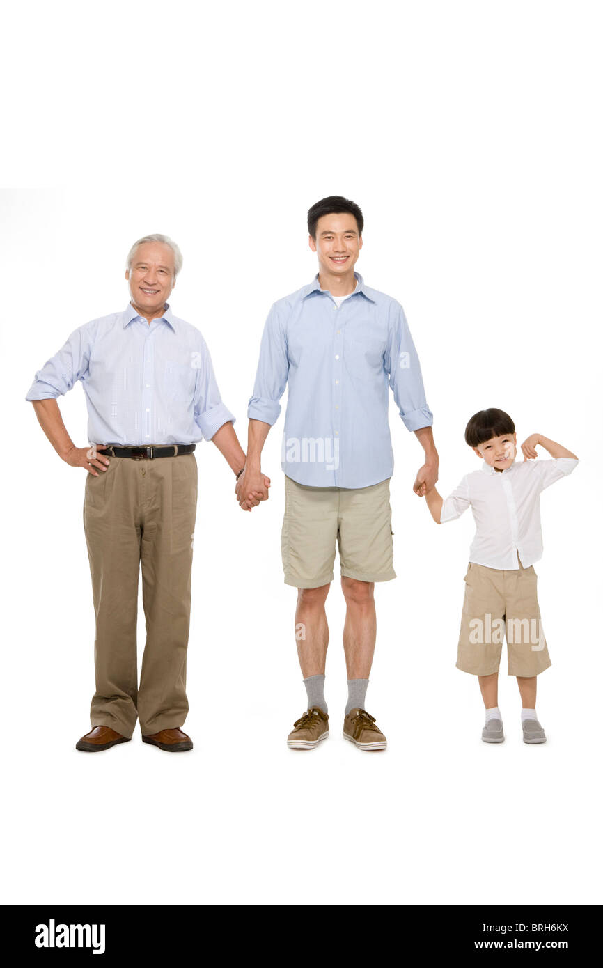 Portrait of three generations of males - Stock Image