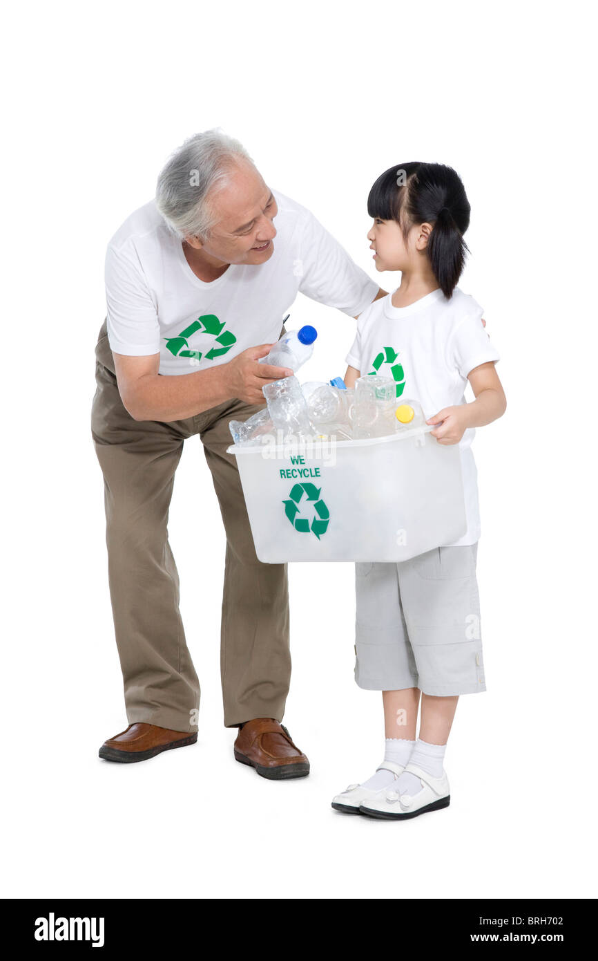 Portrait of an eco-friendly family - Stock Image