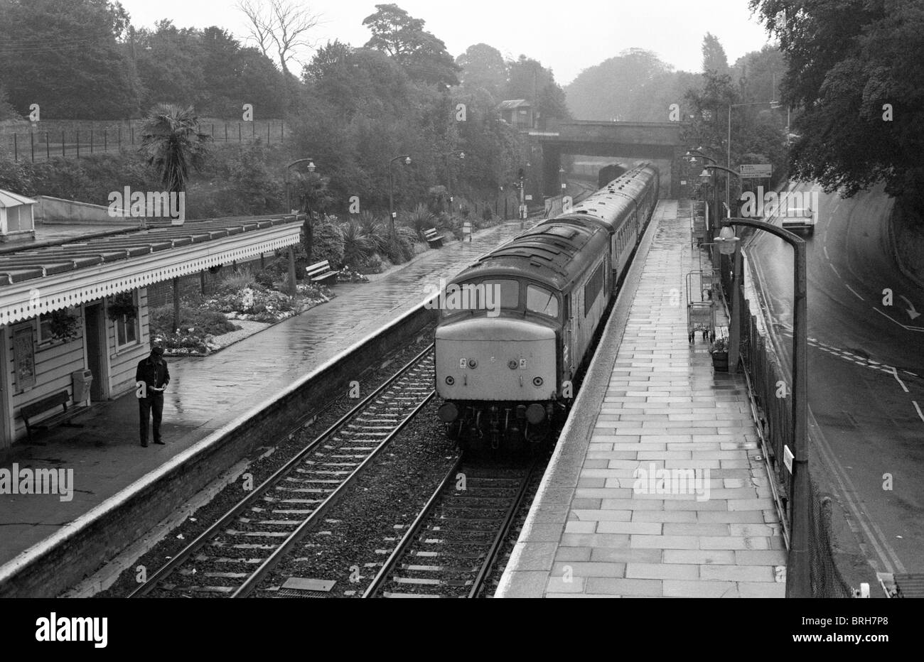 Passenger train at St. Austell railway station, Cornwall, England, UK 1985 - Stock Image