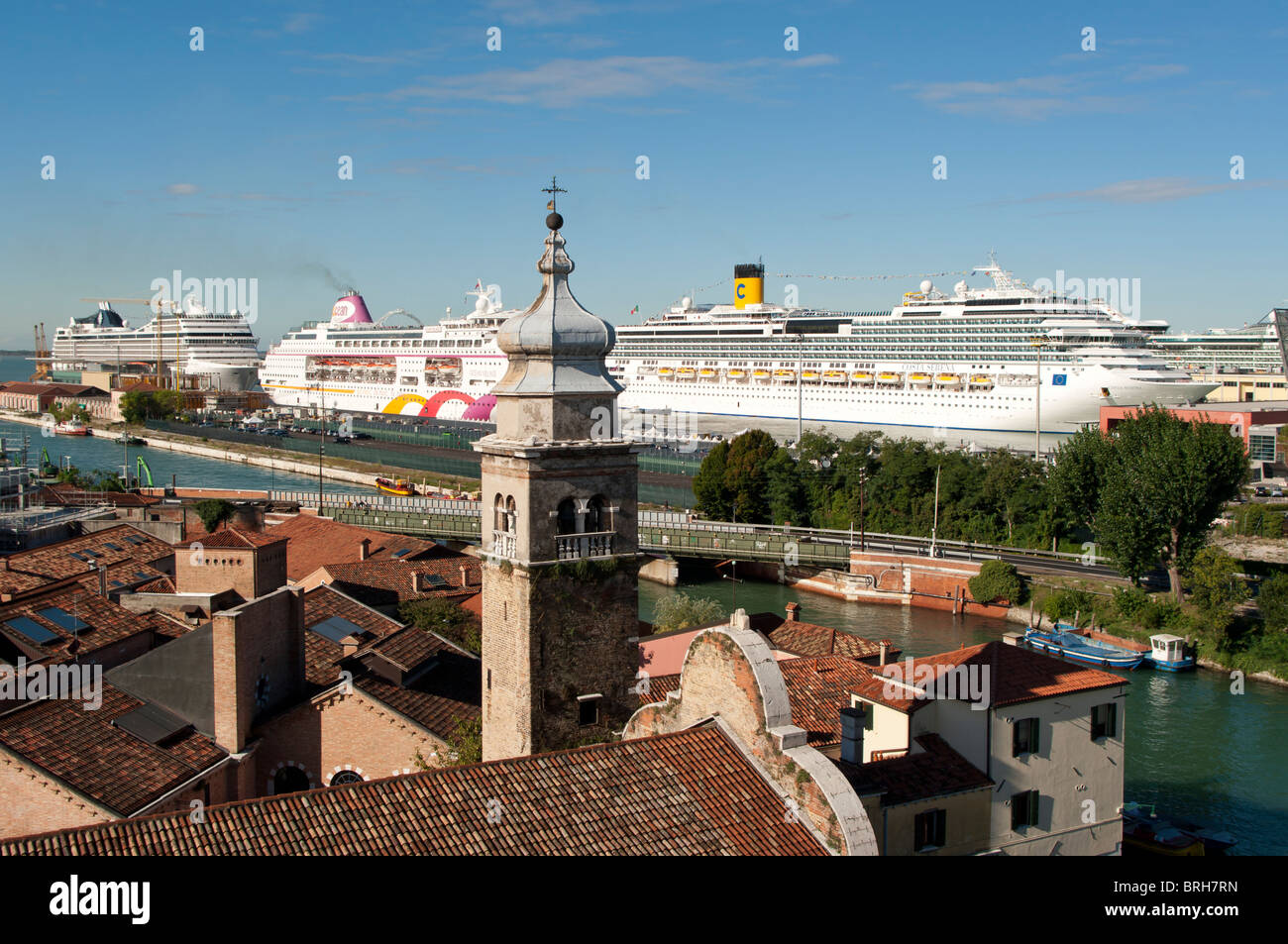 Aerial view on Venice roofs and docked cruisers - Stock Image