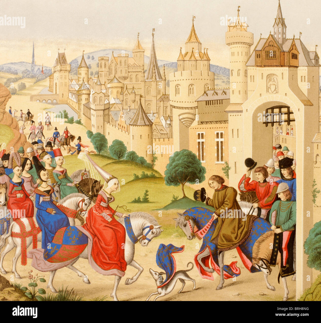 Entrance of Queen Isabeau of Bavaria into Paris, June 20, 1389. - Stock Image