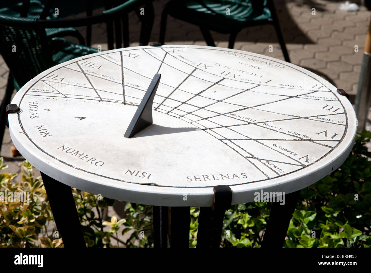 dial sundial sun measure Latin Rome Italy old time - Stock Image