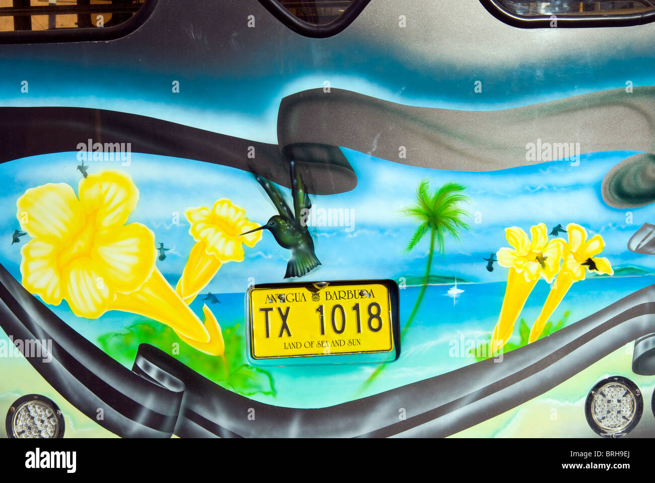 Car Plate, St. John's, Antigua, West Indies, Caribbean, Central America - Stock Image