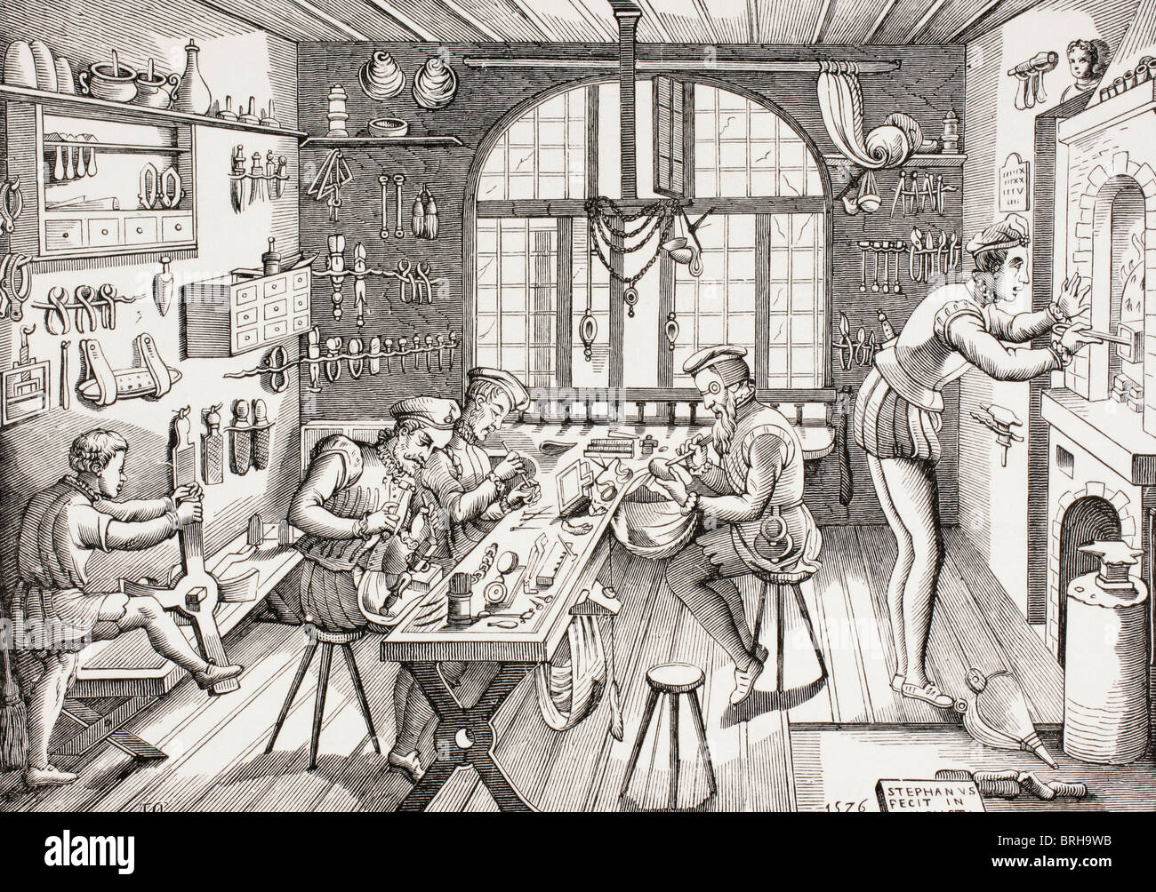 Étienne Delaune, French goldsmith, c. 1519-1583. Interior of his workshop. Stock Photo