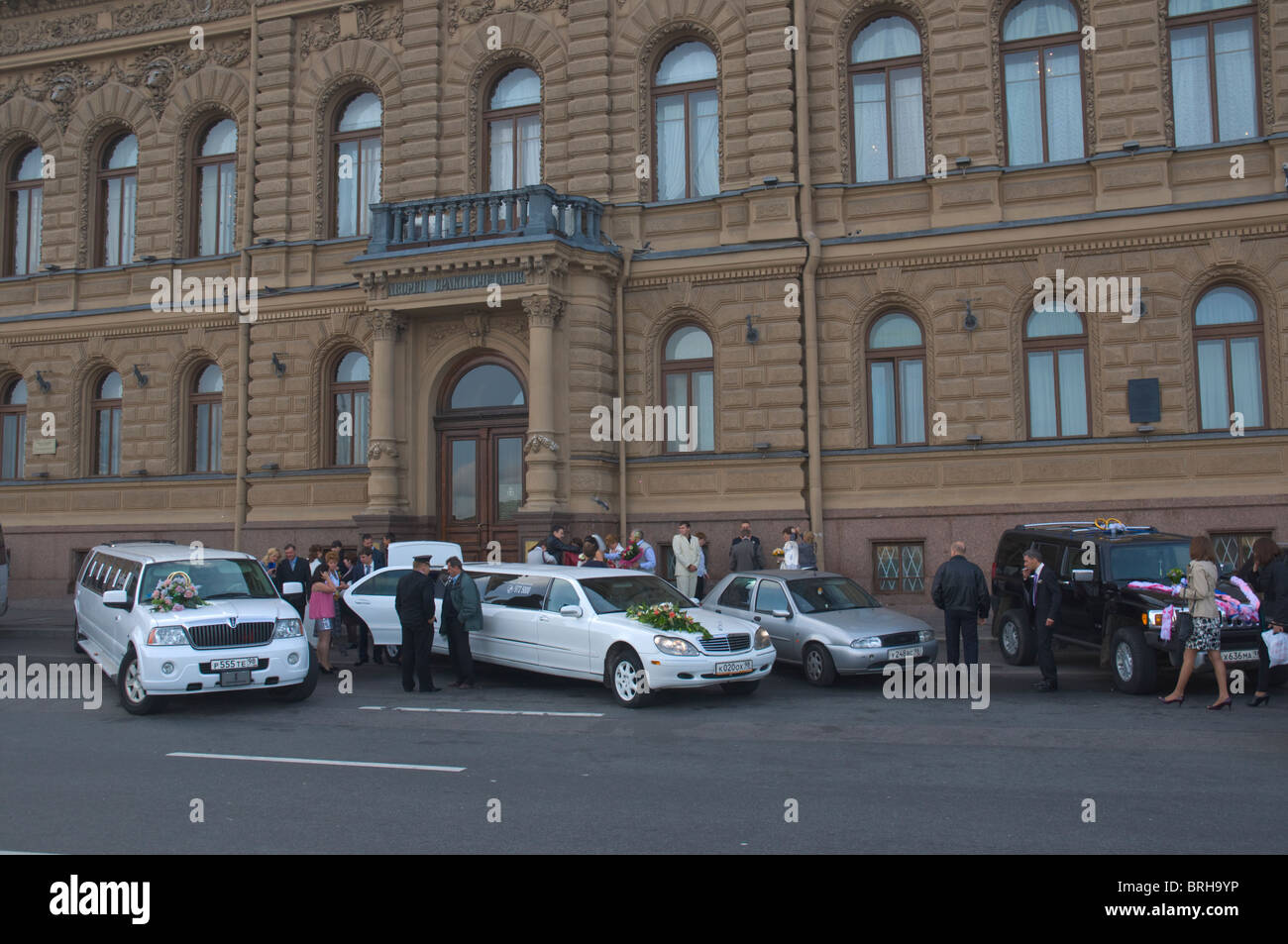 Wedding parties central St Petersburg Russia Europe - Stock Image