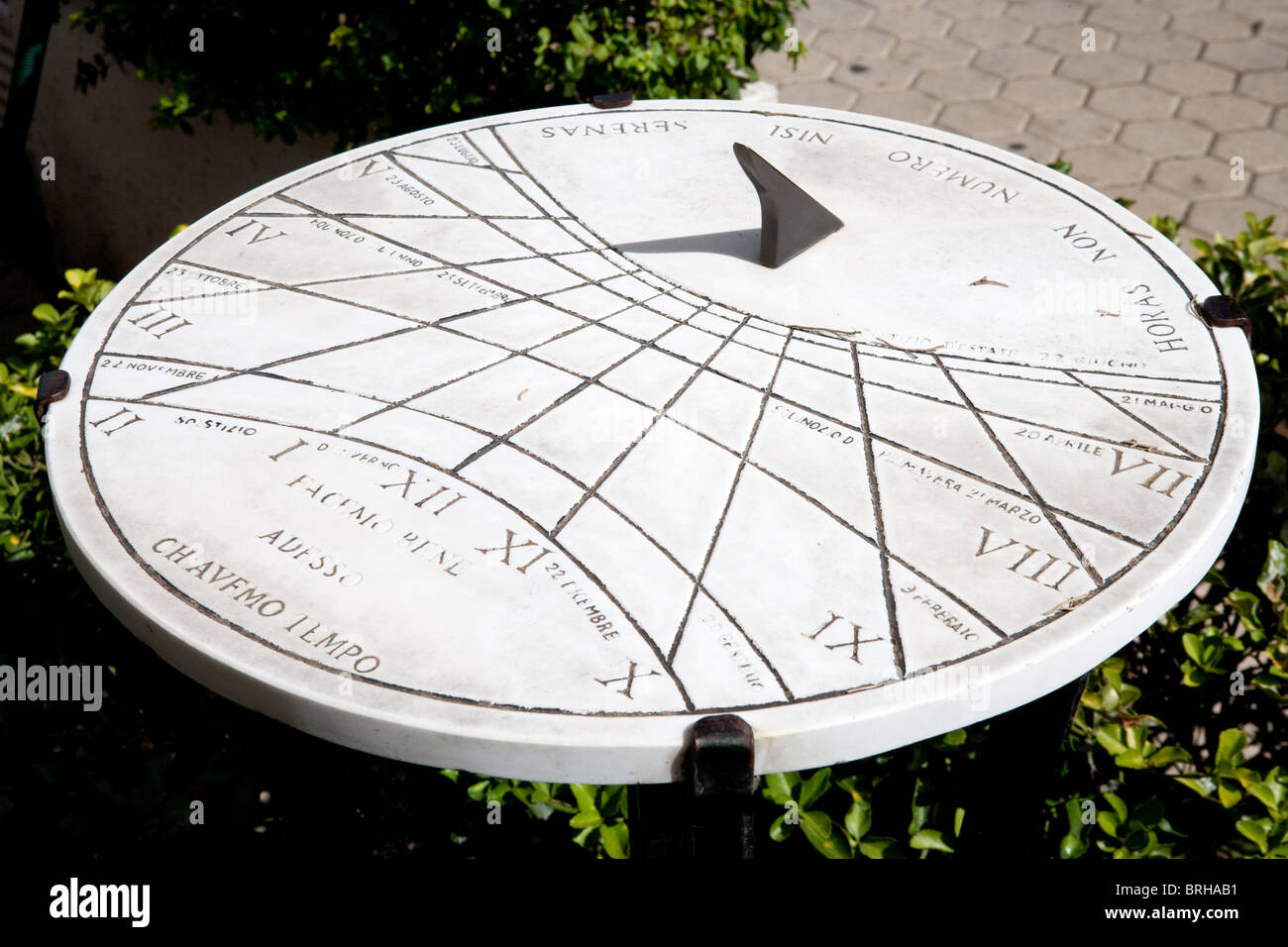 dial sundial sun measurement Latin Italy old time - Stock Image