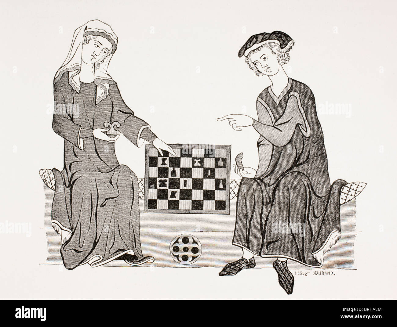Othon IV, Marquis of Brandebourg, 1238 - 1308, playing chess with his wife Hedwige de Habsbourg. - Stock Image