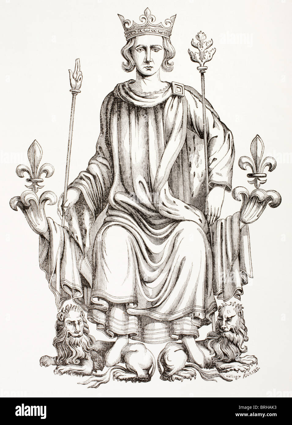 King Charles VI of France, 1369 - 1422, on his throne. Known as The Beloved and The Mad. - Stock Image