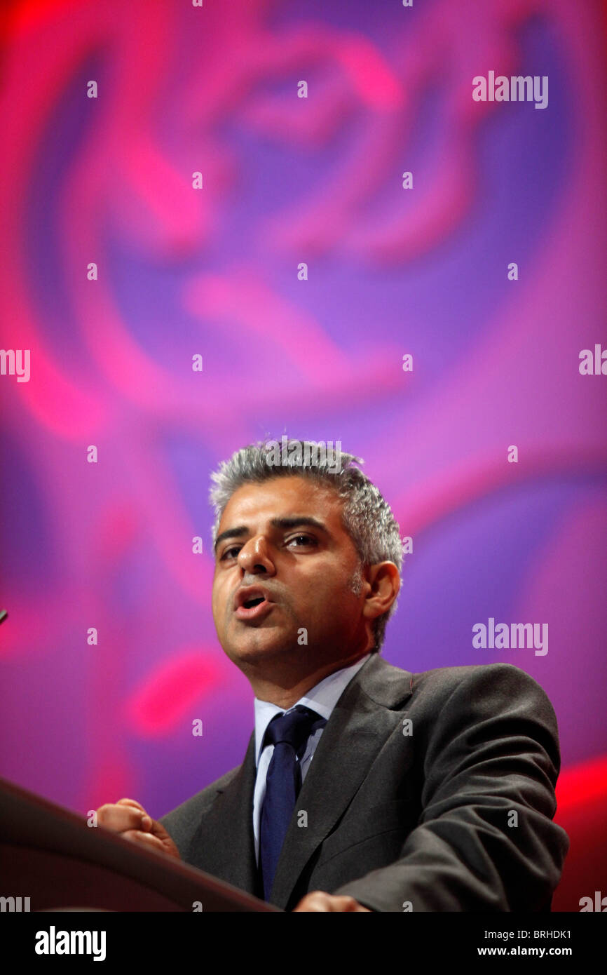 SADIQ KHAN MP LABOUR PARTY 30 September 2010 MANCHESTER CENTRAL MANCHESTER ENGLAND - Stock Image
